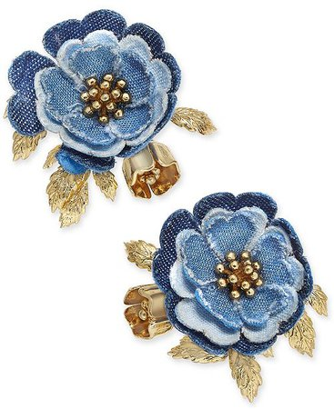 kate spade new york 14k Gold-Plated Denim Flower Stud Earrings & Reviews - Fashion Jewelry - Jewelry & Watches - Macy's