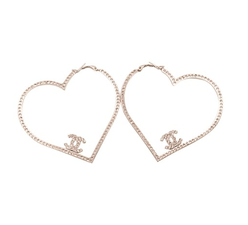 Chanel Gold Heart Pink Crystal Hoop Piercing Earrings