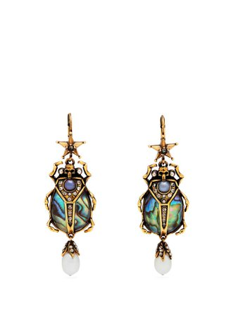 Abalon scarab shell and faux-pearl drop earrings | Alexander McQueen | MATCHESFASHION.COM US