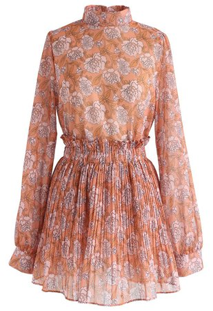 Brilliance Floral Chiffon Top and Skort Set in Orange - DRESS - Retro, Indie and Unique Fashion