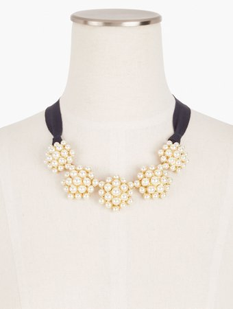 Pearl Cluster Ribbon Necklace   Talbots