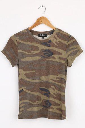 Green Cami Print Top - Short Sleeve Top - Brushed Hacci T-Shirt - Lulus