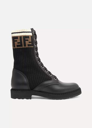 Logo-jacquard Stretch-knit And Leather Ankle Boots - Black