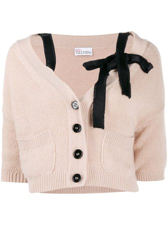 RedValentino bow-embellished Cropped Cardigan - Farfetch