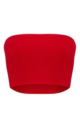 Shape Red Bandeau Crop Top. PLT Shape | PrettyLittleThing