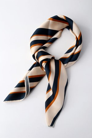 Chic Beige Scarf - Striped Scarf - Satin Scarf