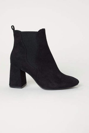 Ankle Boots with Side Panels - Black
