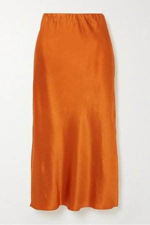 Orange silk-satin midi skirt