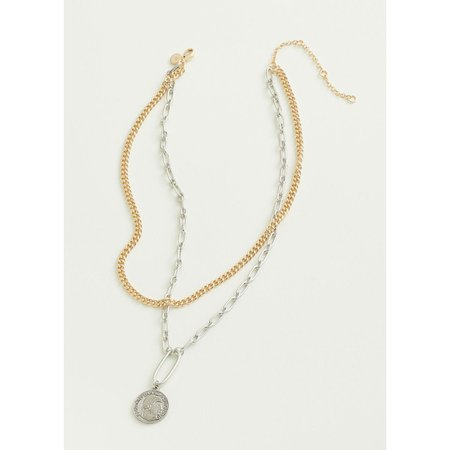 Elizabeth and James Two-Tone Coin Pendant Layered Necklace