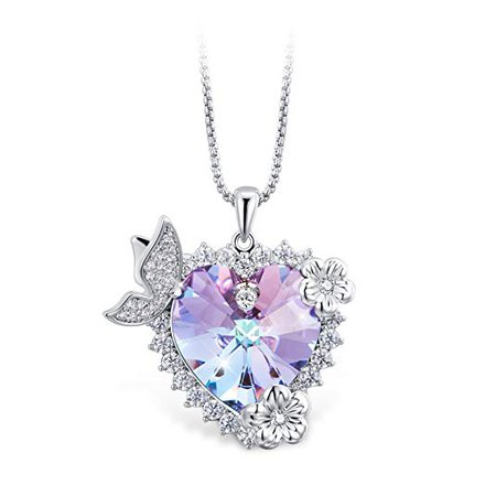 Amazon.com: T400 Jewelers Heart Necklace with Butterfly Wings Made with Swarovski Elements Crystal Gift for Her: Jewelry