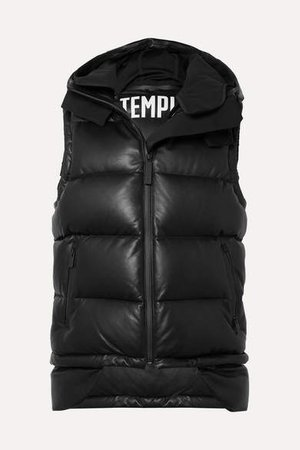 Tuscan Hooded Quilted Leather Down Gilet - Black