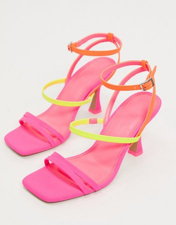 ASOS DESIGN Hailee mid-heeled sandals in neon mix | ASOS