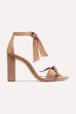 Clarita Bow-embellished Suede Sandals - Beige