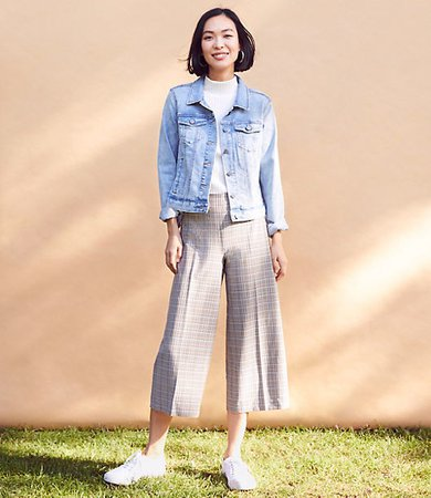 Checked Wide Leg Crop Pants