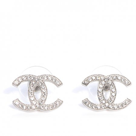 CHANEL Crystal CC Earrings Silver 76925