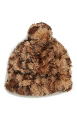 BP. Leopard Faux Fur Pompom Beanie | Nordstrom