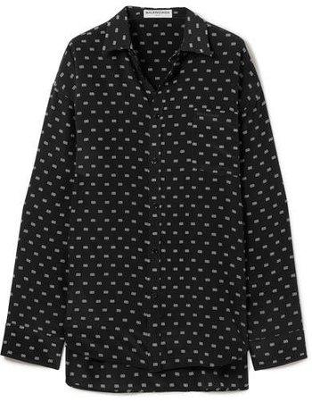 Masculin Printed Silk Shirt - Black