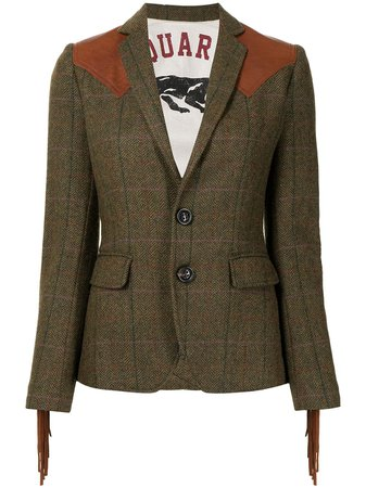 Dsquared2 contrast-panel wool jacket - FARFETCH