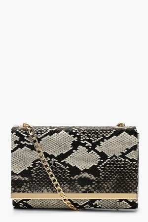 Faux Snake Structured Suedette Clutch Bag | Boohoo