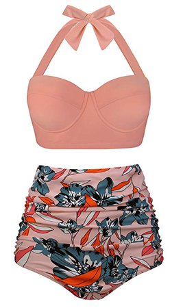 Amazon.com: Aixy Women's Retro Swimsuits for Juniors Two Piece High Waisted Bikini Bottom,Halter Orange Floral,2XL: Clothing