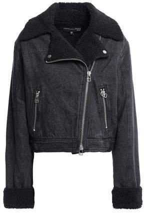 Rosina Faux Shearling-lined Denim Biker Jacket