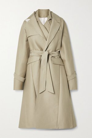 Oversized Layered Cotton-gabardine Trench Coat - Beige