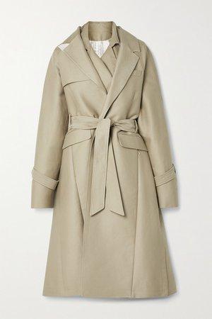Oversized Layered Cotton-gabardine Trench Coat - Beige