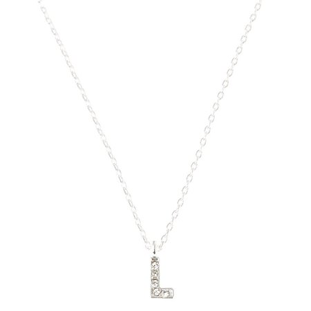 Silver Embellished Initial Pendant Necklace - L | Claire's US