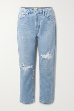 Net Sustain Marlee Cropped Distressed Organic High-rise Tapered Jeans - Light denim