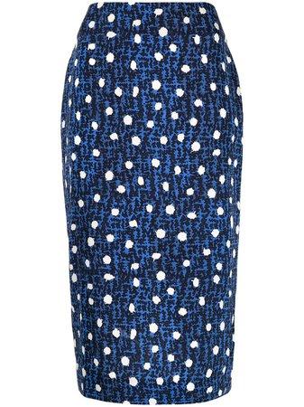 Shop blue DVF Diane von Furstenberg geometric midi skirt with Express Delivery - Farfetch
