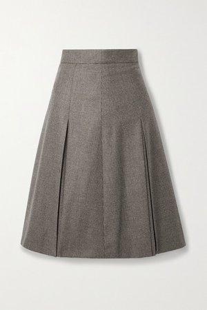 Pleated Checked Wool Skirt - Mushroom