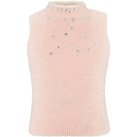 Girls pink diamante sleeveless fluffy top - Cardigans / Sweaters - Tops - girls