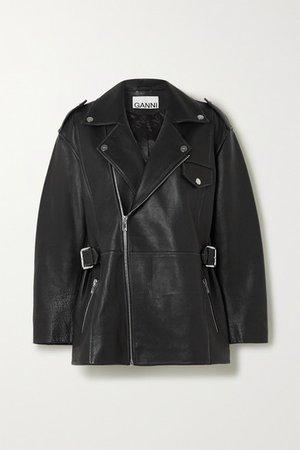 GANNI | Oversized textured-leather biker jacket | NET-A-PORTER.COM