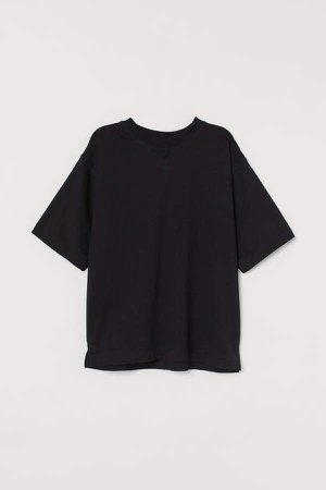 Short-sleeved Sweatshirt - Black