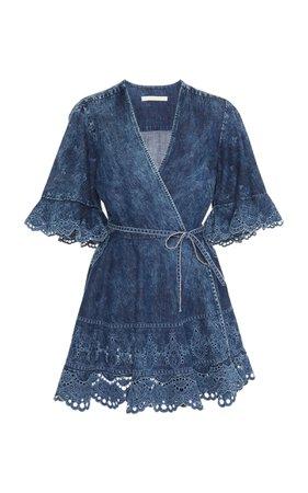 Acid-Wash Denim Wrap Mini Dress by Jonathan Simkhai | Moda Operandi
