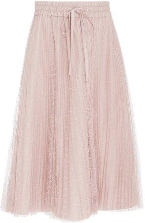 Embroidered Pleated Tulle Midi Skirt