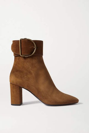 Charlie Buckled Suede Ankle Boots - Brown
