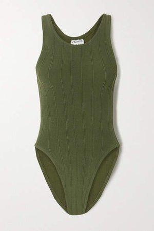 Iris Ribbed Seersucker Swimsuit - Army green