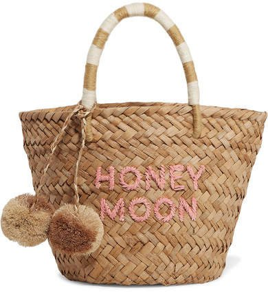 St Tropez Mini Pompom-embellished Embroidered Woven Straw Tote - Sand