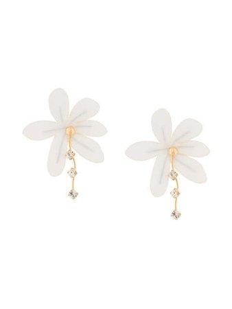 Marni crystal-drop flower earrings white ORMV0210A0T2000 - Farfetch