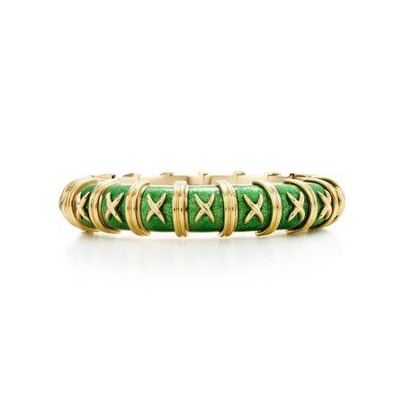 Tiffany & Co, Schlumberger Croisillon bracelet in 18k gold with enamel