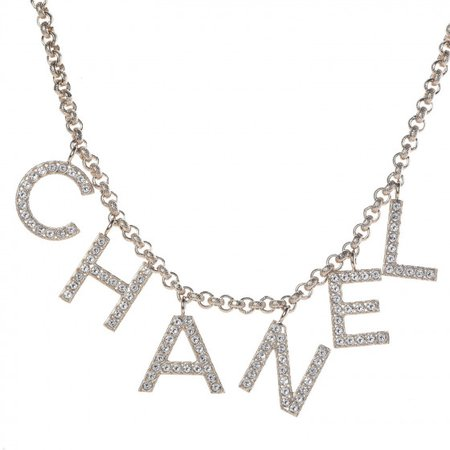 CHANEL Metal Strass Crystal Logo Necklace Gold 397165