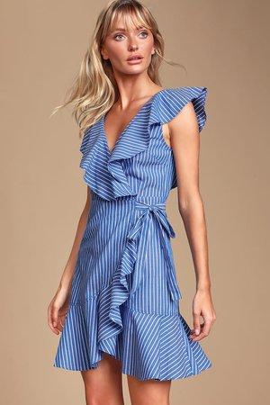 Cute Striped Dress - Blue Striped Wrap Dress - Ruffled Mini Dress