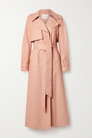 Belted Leather Trench Coat - Blush