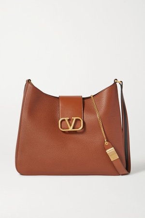 Garavani Vsling Textured-leather Shoulder Bag - Brown
