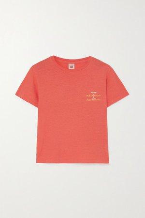 Printed Cotton-jersey T-shirt - Orange