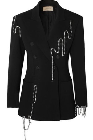 Christopher Kane | Squiggle crystal-embellished double-breasted twill blazer | NET-A-PORTER.COM
