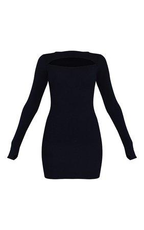 Black Rib Cut Out Thumb Hole Bodycon Dress | PrettyLittleThing USA