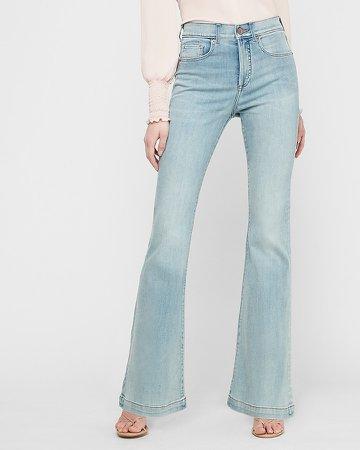 High Waisted Light Wash Slim Flare Jeans