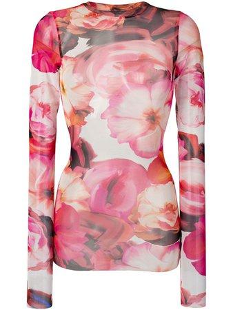 MSGM Floral Print Sweatshirt - Farfetch
